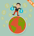 Cartoon Businessman on the earth and falling money vector image vector image