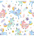 childish seamless pattern with cute unicorn vector image vector image