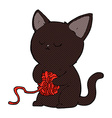 comic cartoon cute black cat playing with ball of vector image vector image