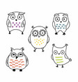 cute comical cartoon owls hand drawn set vector image vector image