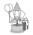 cute elephant in birthday party vector image vector image