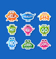 cute monsters stickers set funny emoji characters vector image