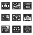 denim emblems or logos set vector image vector image