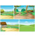 four background scene with road to the countryside vector image vector image