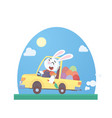funny rabbit is carrying easter eggs vector image