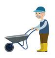 grandfather with a wheelbarrow vector image vector image