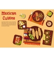 Grilled dishes of mexican cuisine for picnic icon vector image