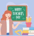 happy teachers day teacher blackboard pencils vector image vector image