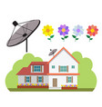 house with satellite dish and flower garden in vector image vector image