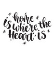 inspirational quote home is where the heart is vector image vector image