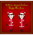 Merry Christmas Monkey Santa Red Background vector image