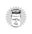 milk can in beams world day of milk lettering vector image vector image