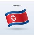 north korea flag waving form vector image