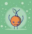 orange cute fruits cartoons vector image vector image