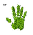 palm print made of green grass vector image vector image