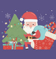 santa with bag tree gifts and sock merry christmas vector image vector image
