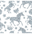 seamless pattern with unicorns and silver glitter vector image