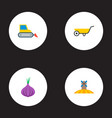 Set of harvest icons flat style symbols with