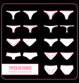 set of woman panties icons in flat style vector image