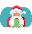 sick santa claus throwing up on christmas vector image vector image