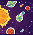 space cartoon background with objects comets vector image