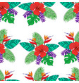 tropical leaf palm flower hibiscus bird vector image