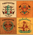 vintage firefighting emblems set vector image