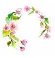 Watercolor apple flowers wreath vector image vector image
