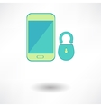 White smart phone infographic element with lock vector image vector image