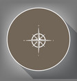 wind rose sign white icon on brown circle vector image vector image
