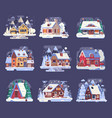 winter country house and cabin set vector image vector image