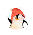 winter penguin in hat playing throwing snowballs vector image