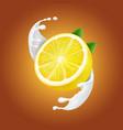 yogurt lemon in milk splash or yogurt flow vector image vector image