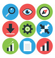 Flat Styled Circular Business Icons vector image