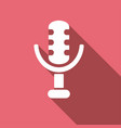 microphone icon with a long shadow vector image