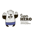 Bear in Superhero costume character isolated on vector image