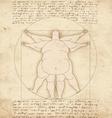 Conceptual modern Vetruvian man basis of artwork vector image
