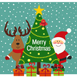Christmas greeting card with Santa and deer vector image