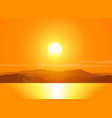 Landscape with sunset over mountain range vector image