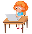 a girl using laptop vector image