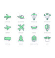 air transport simple line icons vector image