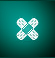 bandage plaster icon isolated on green background vector image vector image