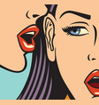 beautiful woman whispering secret to her friend vector image