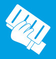 brick in a hand icon white vector image vector image
