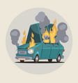 burning car vector image vector image