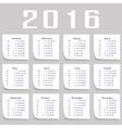 Calendar for 2016 Week Starts Monday vector image vector image