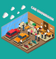car showroom isometric vector image vector image