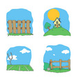 cartoon clipart landscape set vector image