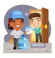 cartoon water delivery and customer vector image