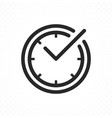 check mark on clock line icon vector image vector image